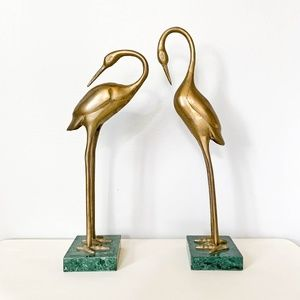 Two Brass Standing Bird Vintage Figurines